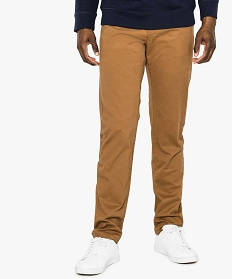 GEMO Pantalon homme chino coupe straight Brun