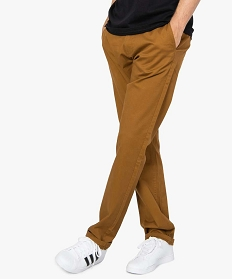 GEMO Pantalon chino homme coupe regular Brun
