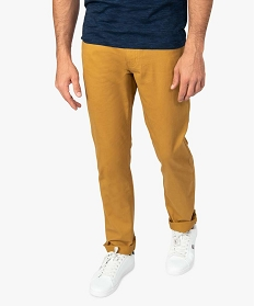 GEMO Pantalon homme 5 poches coupe regular en toile unie Orange