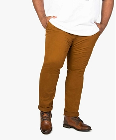 GEMO Pantalon homme chino en stretch coupe straignt Brun