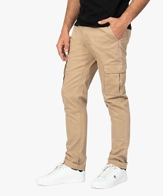GEMO Pantalon homme battle en coton stretch Beige