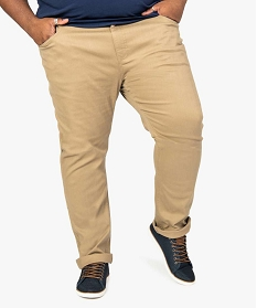 GEMO Pantalon homme 5 poches uni coupe straight stretch Beige