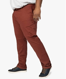 GEMO Pantalon homme chino uni en stretch Rouge