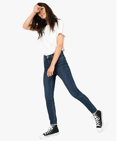 GEMO Jean femme en stretch coupe Skinny taille haute Bleu