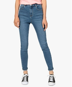 GEMO Jean femme en stretch coupe Skinny taille haute Gris