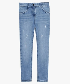 GEMO Jean fille slim stretch avec traces dusure Gris