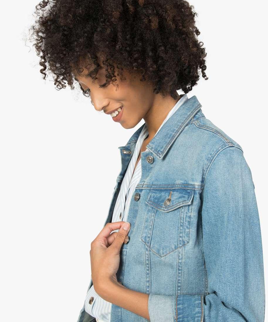 Gemo vetements veste en jean femme coupe large et courte bleu femme   GÉMO