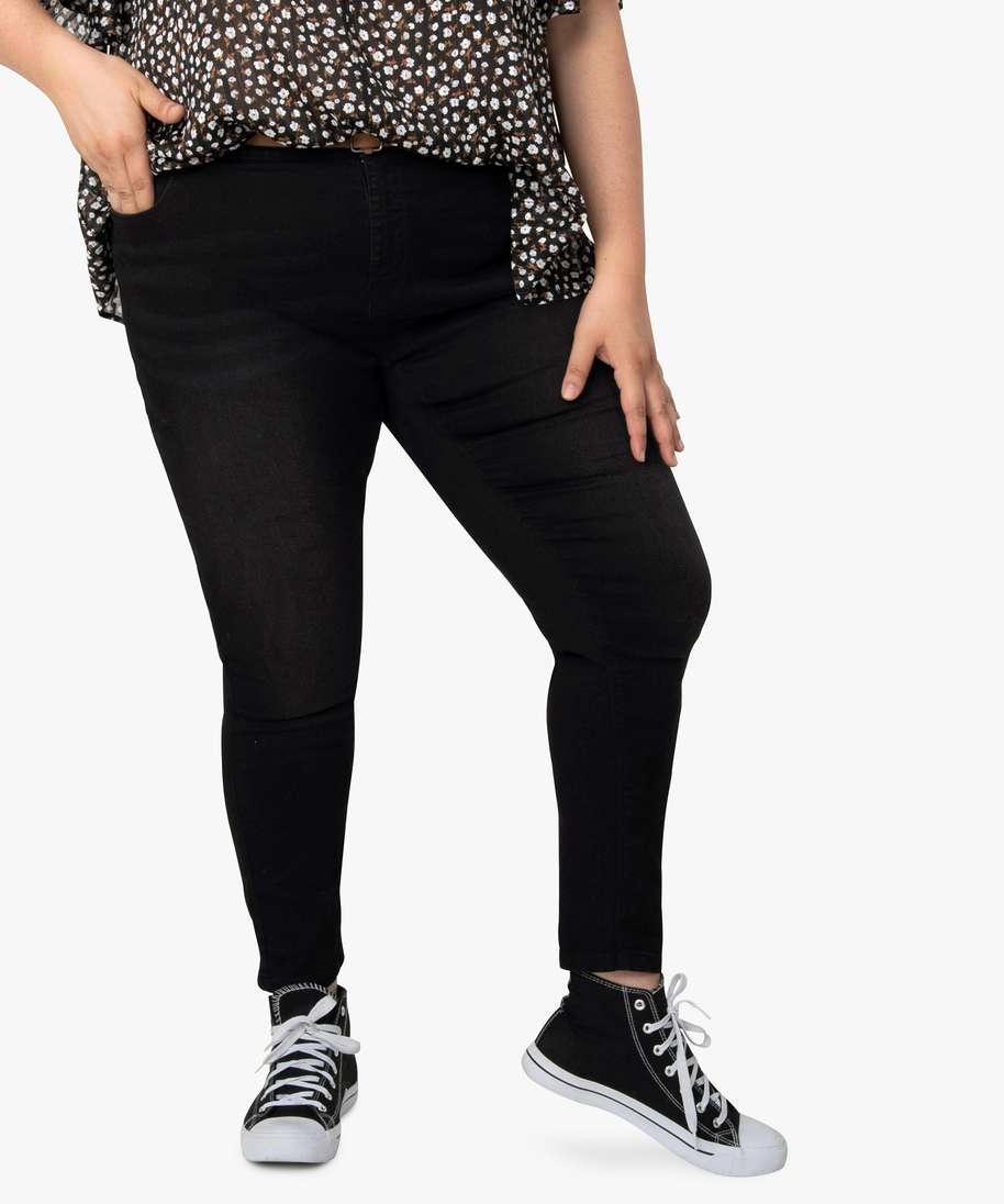 Gemo grande taille pantalon femme coupe slim longueur 78eme avec ceinture noir femme | GÉMO
