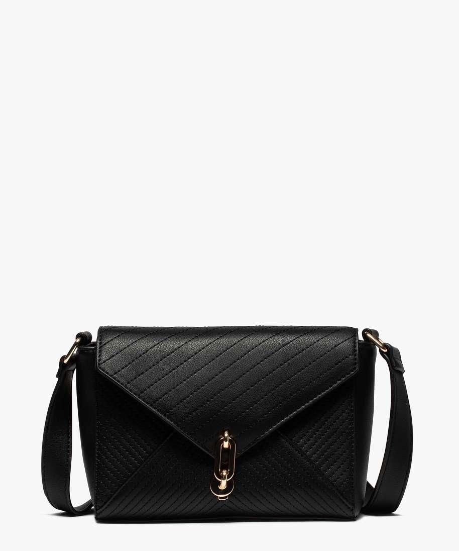 sac besace femme petit format a motif surpique noir sacs bandouliere